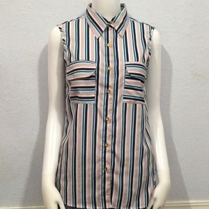 MPH Collection Stripped Button Down Sleeveless Top